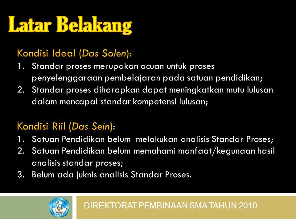 DIREKTORAT PEMBINAAN SMA TAHUN 2010 Kondisi Ideal (Das Solen): 1.Standar proses merupakan acuan untuk proses penyelenggaraan pembelajaran pada satuan