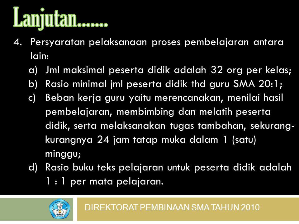 DIREKTORAT PEMBINAAN SMA TAHUN 2010 4.Persyaratan pelaksanaan proses pembelajaran antara lain: a)Jml maksimal peserta didik adalah 32 org per kelas; b