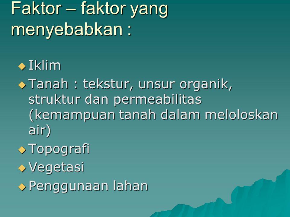 Faktor – faktor yang menyebabkan :  Iklim  Tanah : tekstur, unsur organik, struktur dan permeabilitas (kemampuan tanah dalam meloloskan air)  Topog