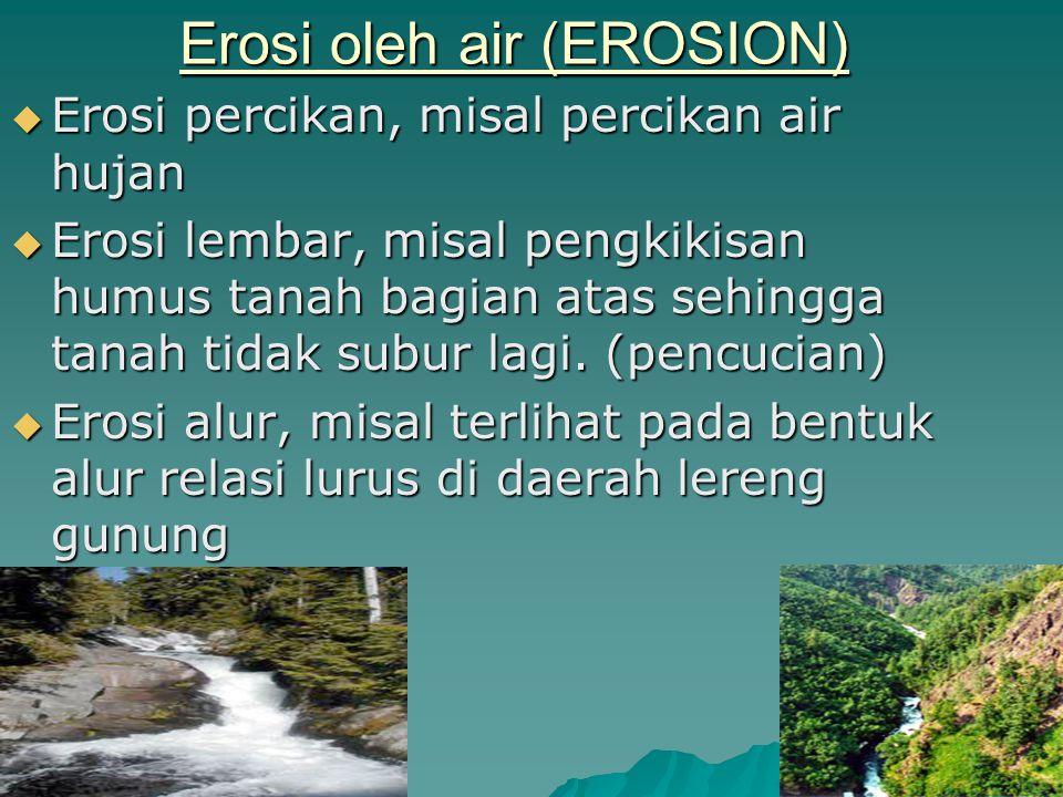 Erosi oleh air (EROSION) EEEErosi percikan, misal percikan air hujan EEEErosi lembar, misal pengkikisan humus tanah bagian atas sehingga tanah