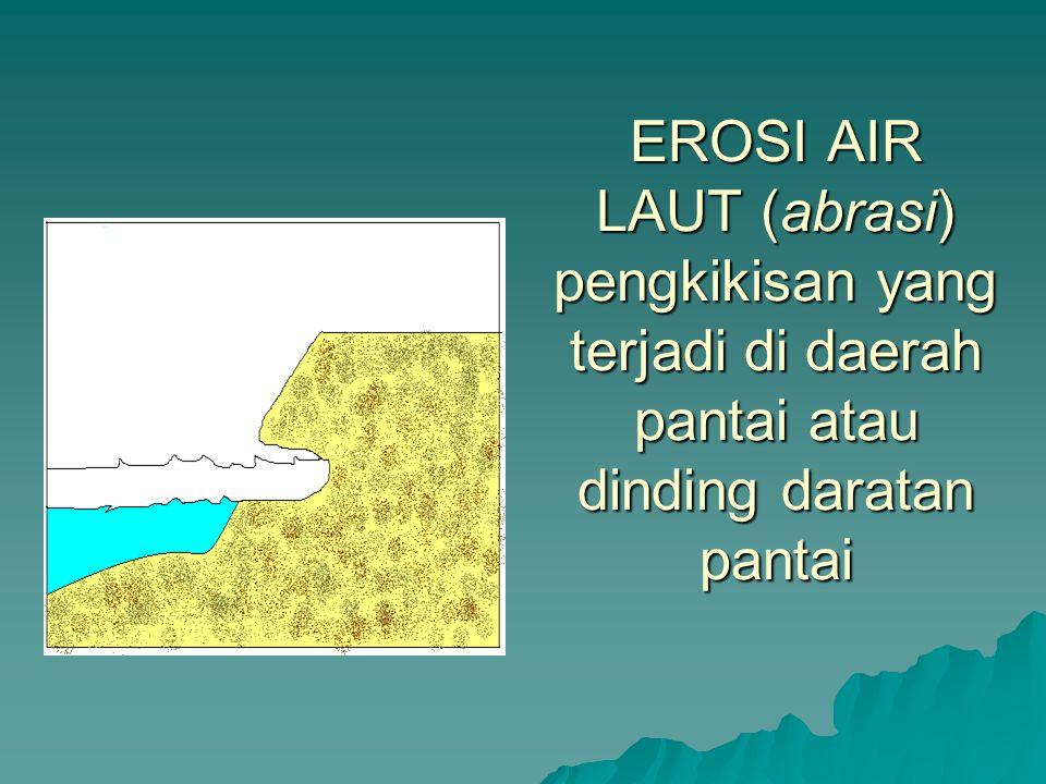 EROSI AIR LAUT (abrasi) pengkikisan yang terjadi di daerah pantai atau dinding daratan pantai