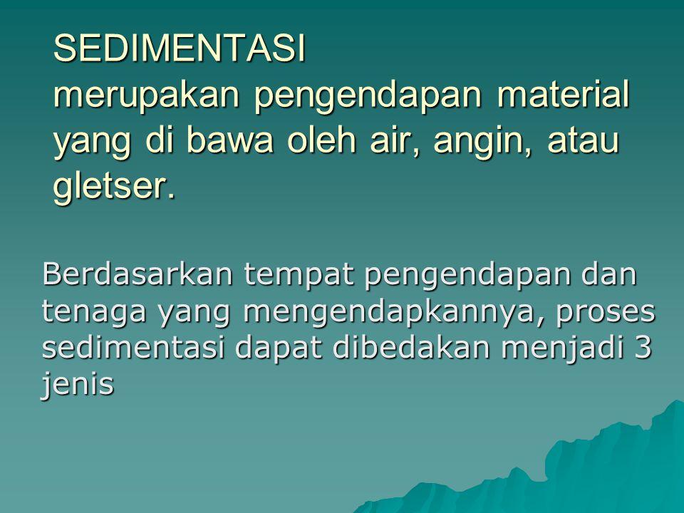 SEDIMENTASI merupakan pengendapan material yang di bawa oleh air, angin, atau gletser. Berdasarkan tempat pengendapan dan tenaga yang mengendapkannya,