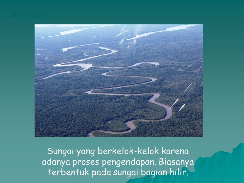 Meander Sungai yang berkelok-kelok karena adanya proses pengendapan. Biasanya terbentuk pada sungai bagian hilir.