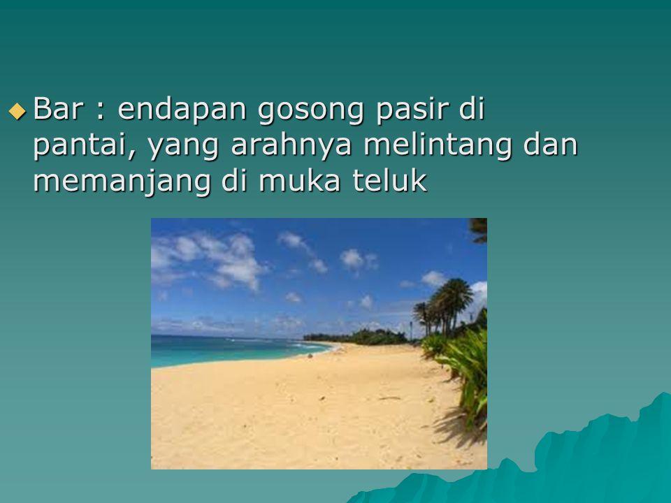  Bar : endapan gosong pasir di pantai, yang arahnya melintang dan memanjang di muka teluk