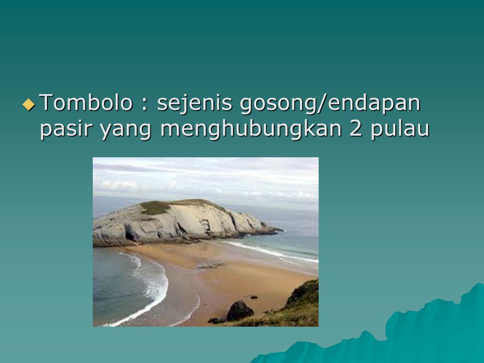  Tombolo : sejenis gosong/endapan pasir yang menghubungkan 2 pulau