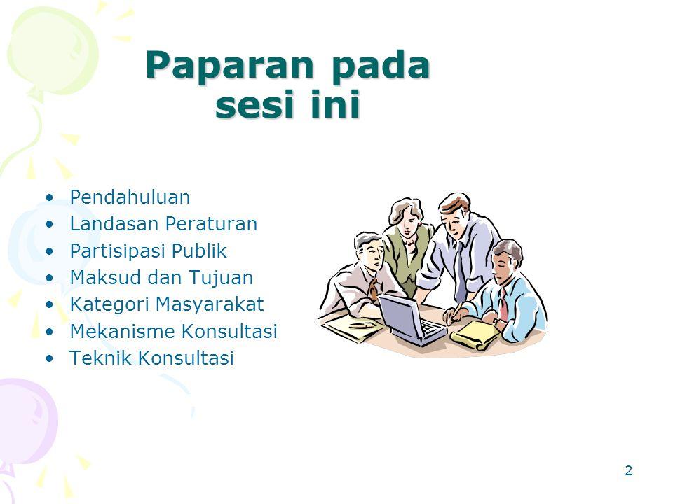 2 Paparan pada sesi ini Pendahuluan Landasan Peraturan Partisipasi Publik Maksud dan Tujuan Kategori Masyarakat Mekanisme Konsultasi Teknik Konsultasi
