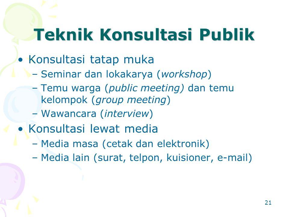 21 Teknik Konsultasi Publik Konsultasi tatap muka –Seminar dan lokakarya (workshop) –Temu warga (public meeting) dan temu kelompok (group meeting) –Wa