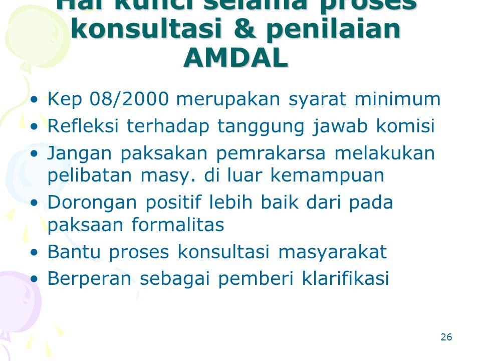 26 Hal kunci selama proses konsultasi & penilaian AMDAL Kep 08/2000 merupakan syarat minimum Refleksi terhadap tanggung jawab komisi Jangan paksakan p