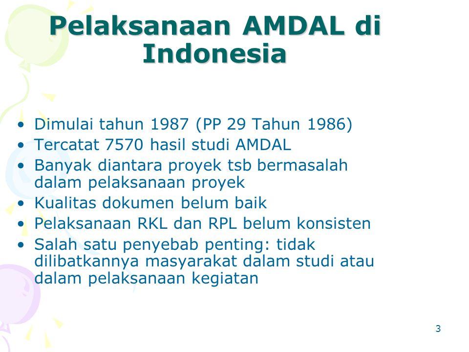3 Pelaksanaan AMDAL di Indonesia Dimulai tahun 1987 (PP 29 Tahun 1986) Tercatat 7570 hasil studi AMDAL Banyak diantara proyek tsb bermasalah dalam pel