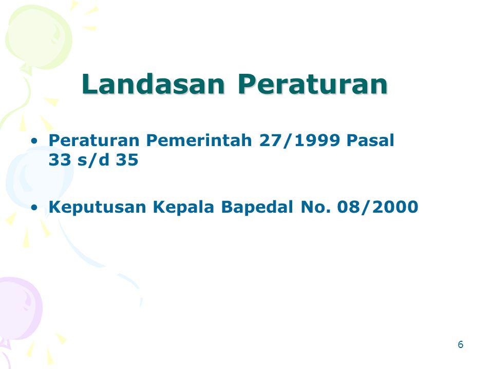 6 Landasan Peraturan Peraturan Pemerintah 27/1999 Pasal 33 s/d 35 Keputusan Kepala Bapedal No. 08/2000