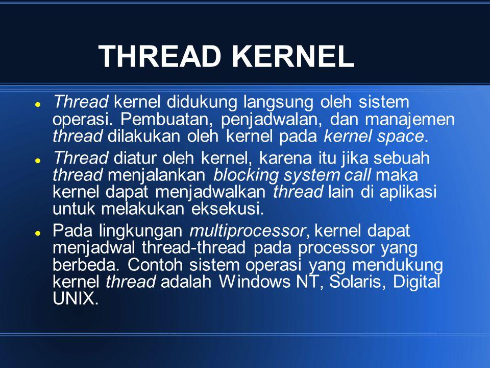 THREAD KERNEL Thread kernel didukung langsung oleh sistem operasi. Pembuatan, penjadwalan, dan manajemen thread dilakukan oleh kernel pada kernel spac