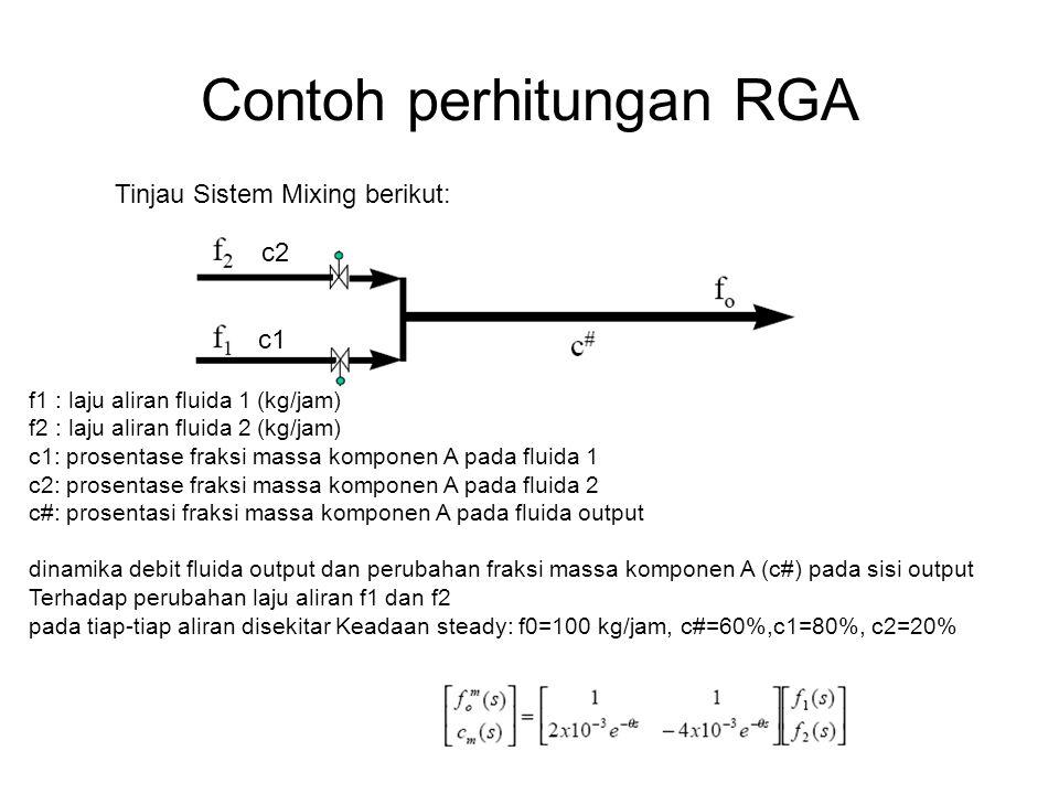 Contoh perhitungan RGA Tinjau Sistem Mixing berikut: f1 : laju aliran fluida 1 (kg/jam) f2 : laju aliran fluida 2 (kg/jam) c1: prosentase fraksi massa