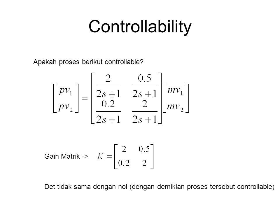 Controllability Apakah proses berikut controllable? Gain Matrik -> Det tidak sama dengan nol (dengan demikian proses tersebut controllable)
