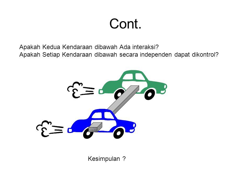 Cont. Apakah Kedua Kendaraan dibawah Ada interaksi? Apakah Setiap Kendaraan dibawah secara independen dapat dikontrol? Kesimpulan ?
