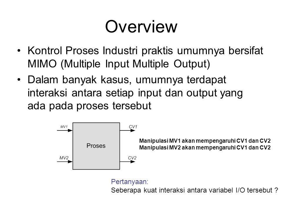 Overview Kontrol Proses Industri praktis umumnya bersifat MIMO (Multiple Input Multiple Output) Dalam banyak kasus, umumnya terdapat interaksi antara
