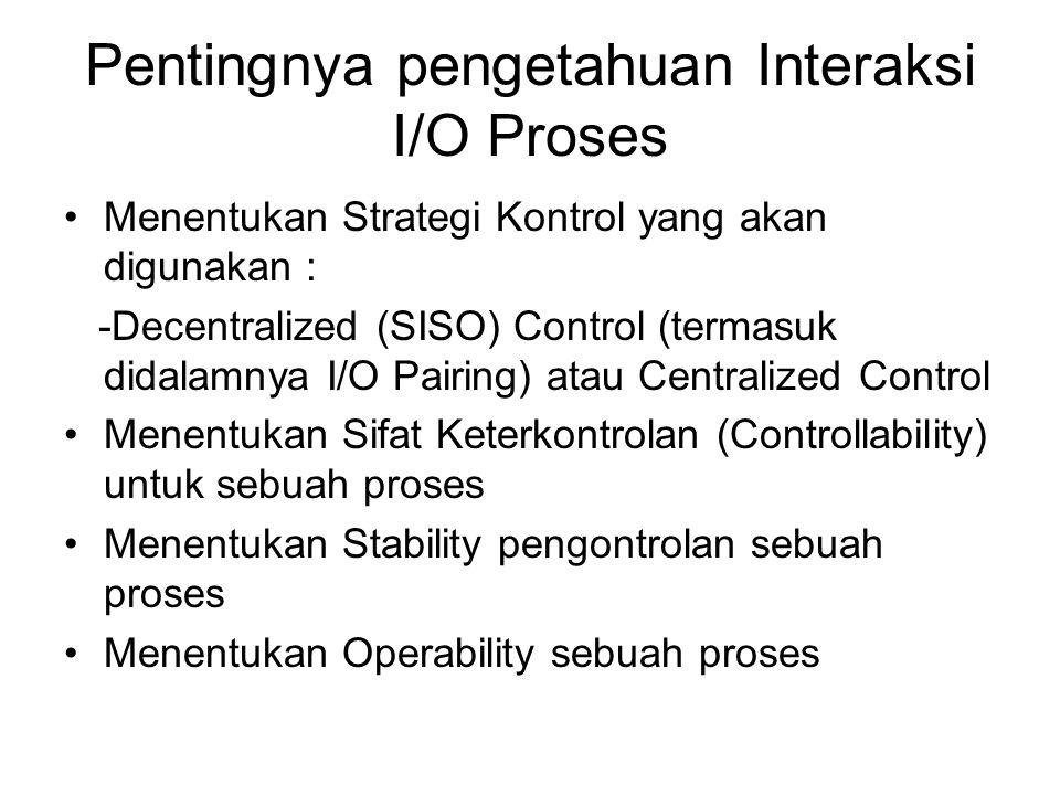 Pentingnya pengetahuan Interaksi I/O Proses Menentukan Strategi Kontrol yang akan digunakan : -Decentralized (SISO) Control (termasuk didalamnya I/O P