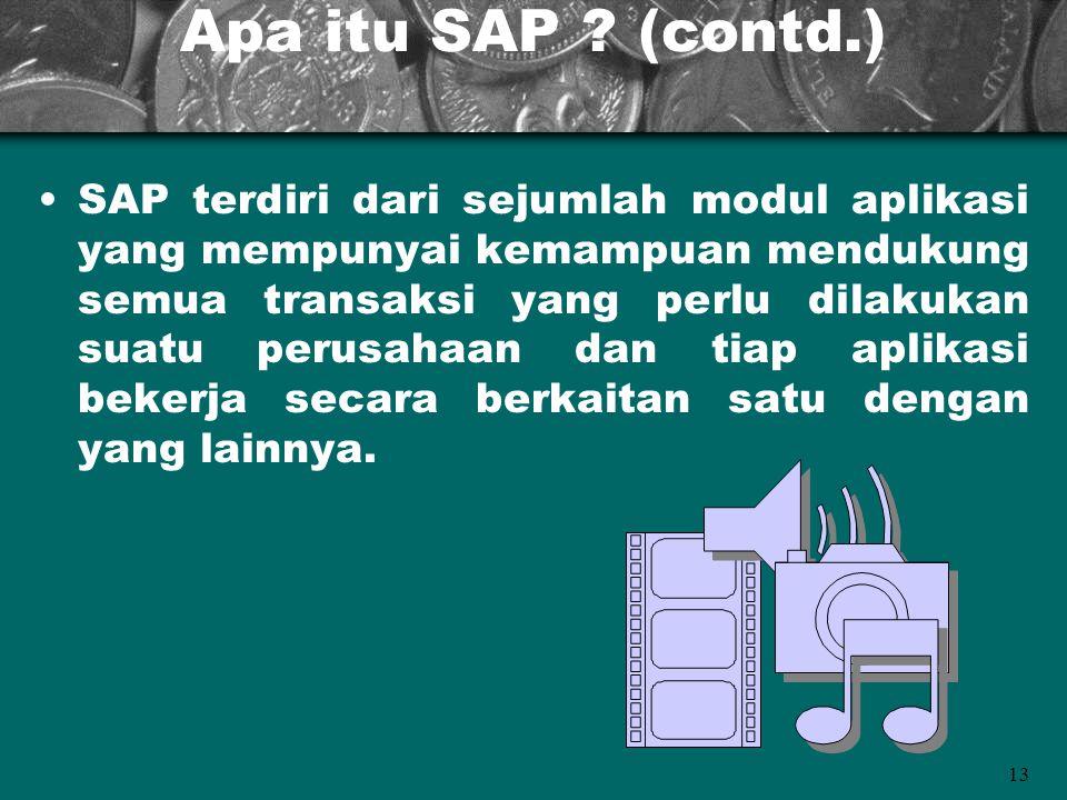 13 Apa itu SAP ? (contd.) SAP terdiri dari sejumlah modul aplikasi yang mempunyai kemampuan mendukung semua transaksi yang perlu dilakukan suatu perus