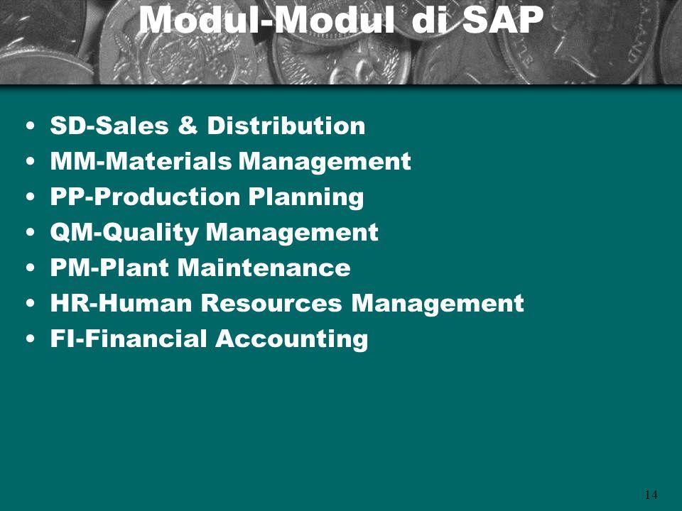 14 Modul-Modul di SAP SD-Sales & Distribution MM-Materials Management PP-Production Planning QM-Quality Management PM-Plant Maintenance HR-Human Resou
