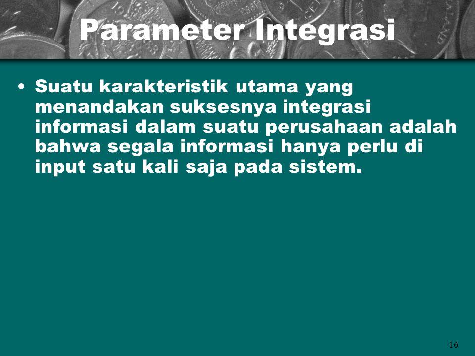 16 Parameter Integrasi Suatu karakteristik utama yang menandakan suksesnya integrasi informasi dalam suatu perusahaan adalah bahwa segala informasi ha