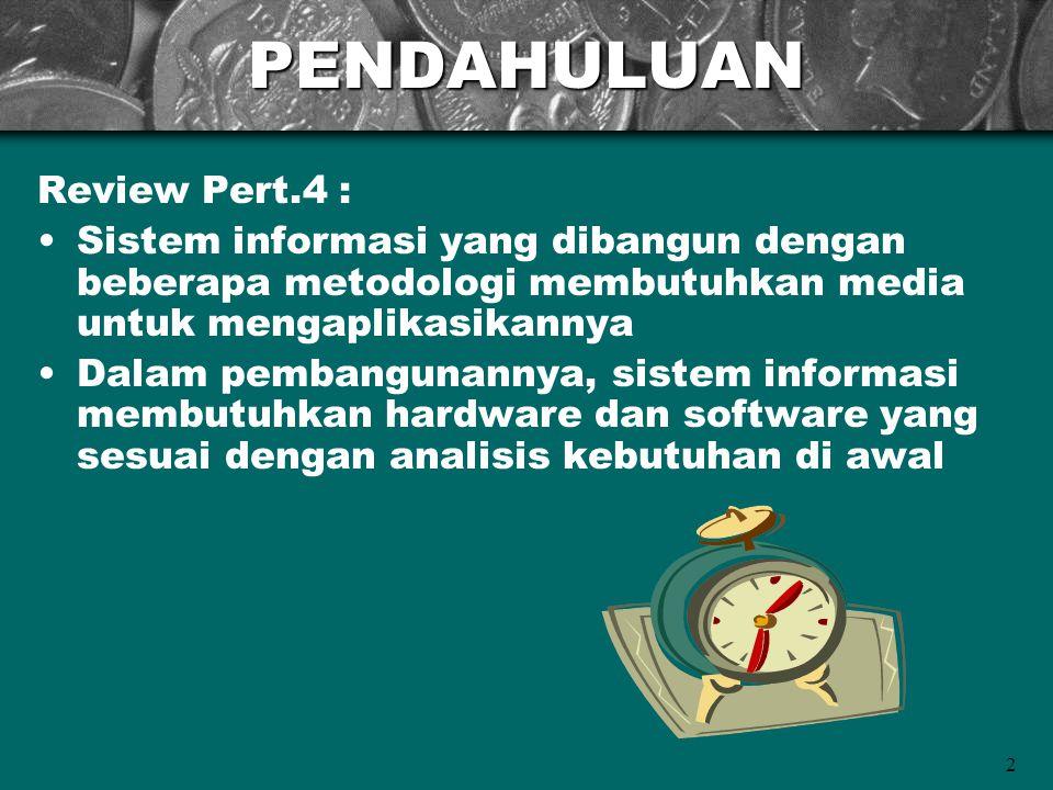 2PENDAHULUAN Review Pert.4 : Sistem informasi yang dibangun dengan beberapa metodologi membutuhkan media untuk mengaplikasikannya Dalam pembangunannya
