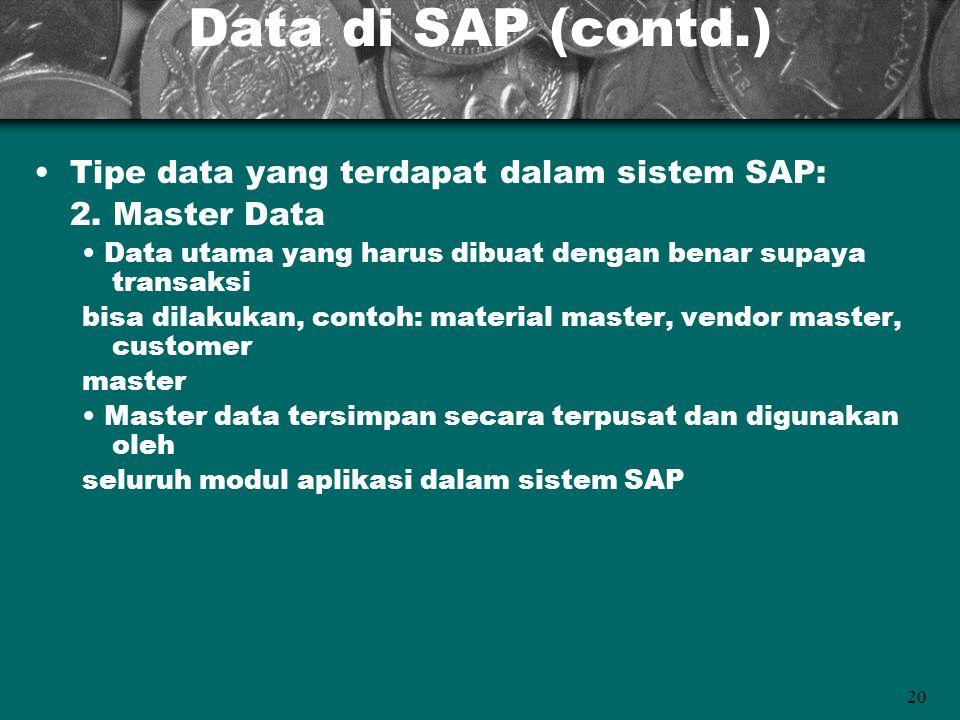 20 Data di SAP (contd.) Tipe data yang terdapat dalam sistem SAP: 2. Master Data Data utama yang harus dibuat dengan benar supaya transaksi bisa dilak