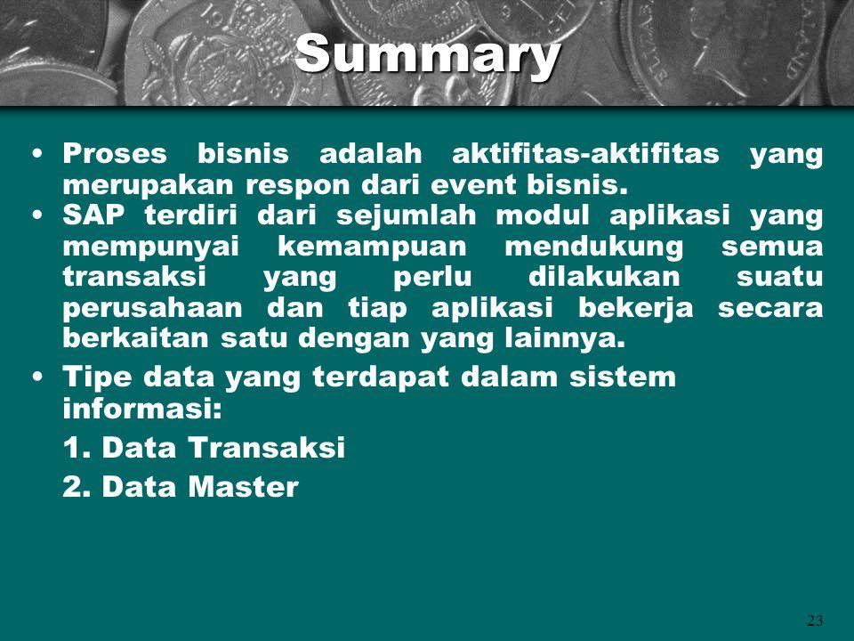 23Summary Proses bisnis adalah aktifitas-aktifitas yang merupakan respon dari event bisnis. SAP terdiri dari sejumlah modul aplikasi yang mempunyai ke