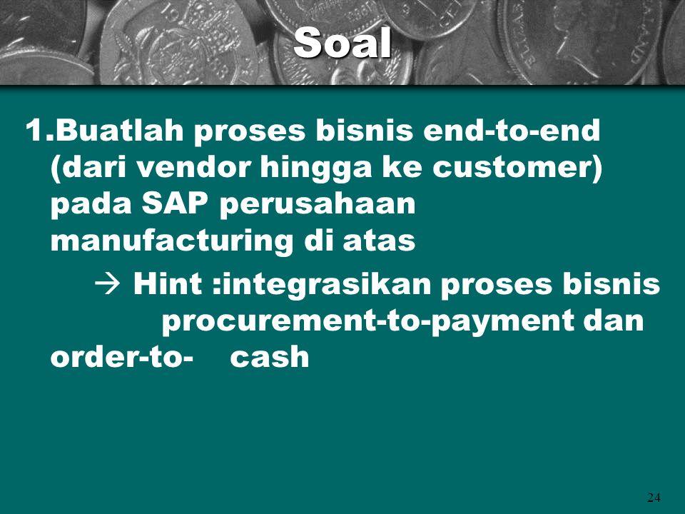 24Soal 1.Buatlah proses bisnis end-to-end (dari vendor hingga ke customer) pada SAP perusahaan manufacturing di atas  Hint :integrasikan proses bisni