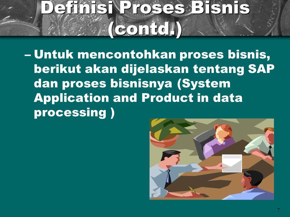 7 Definisi Proses Bisnis (contd.) –Untuk mencontohkan proses bisnis, berikut akan dijelaskan tentang SAP dan proses bisnisnya (System Application and