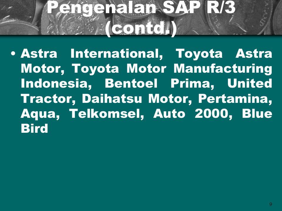 9 Pengenalan SAP R/3 (contd.) Astra International, Toyota Astra Motor, Toyota Motor Manufacturing Indonesia, Bentoel Prima, United Tractor, Daihatsu M