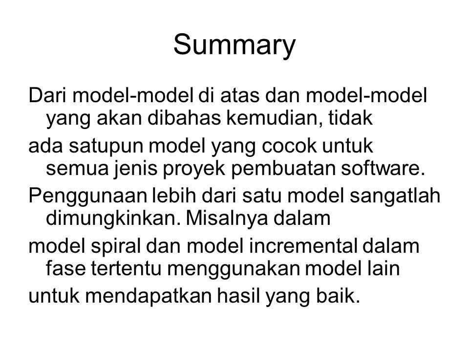 Summary Dari model-model di atas dan model-model yang akan dibahas kemudian, tidak ada satupun model yang cocok untuk semua jenis proyek pembuatan sof
