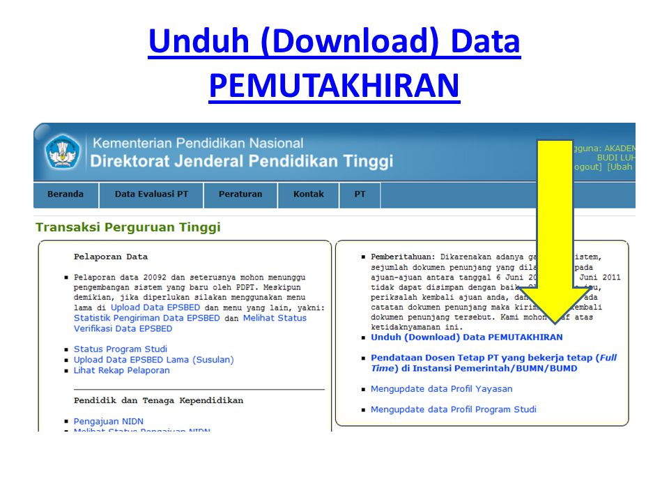 Unduh (Download) Data PEMUTAKHIRAN