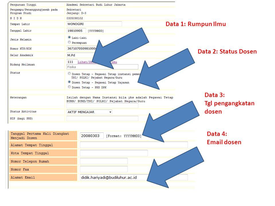 Data 1: Rumpun Ilmu Data 2: Status Dosen Data 3: Tgl pengangkatan dosen Data 4: Email dosen