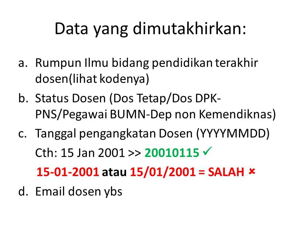 Data yang dimutakhirkan: a.Rumpun Ilmu bidang pendidikan terakhir dosen(lihat kodenya) b.Status Dosen (Dos Tetap/Dos DPK- PNS/Pegawai BUMN-Dep non Kemendiknas) c.Tanggal pengangkatan Dosen (YYYYMMDD) Cth: 15 Jan 2001 >> 20010115 15-01-2001 atau 15/01/2001 = SALAH  d.Email dosen ybs