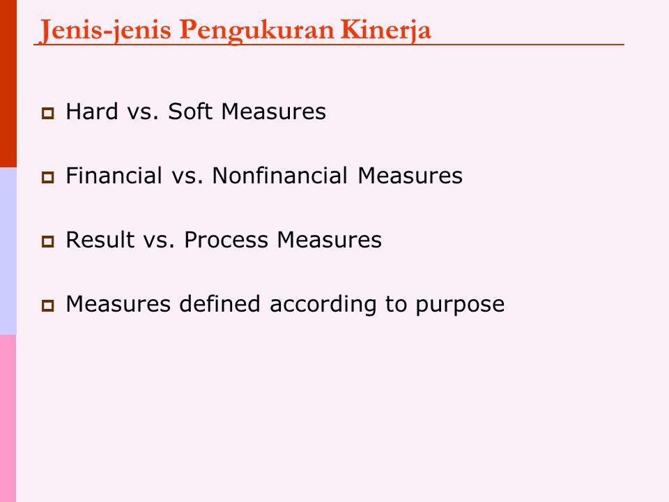 Jenis-jenis Pengukuran Kinerja  Hard vs. Soft Measures  Financial vs. Nonfinancial Measures  Result vs. Process Measures  Measures defined accordi