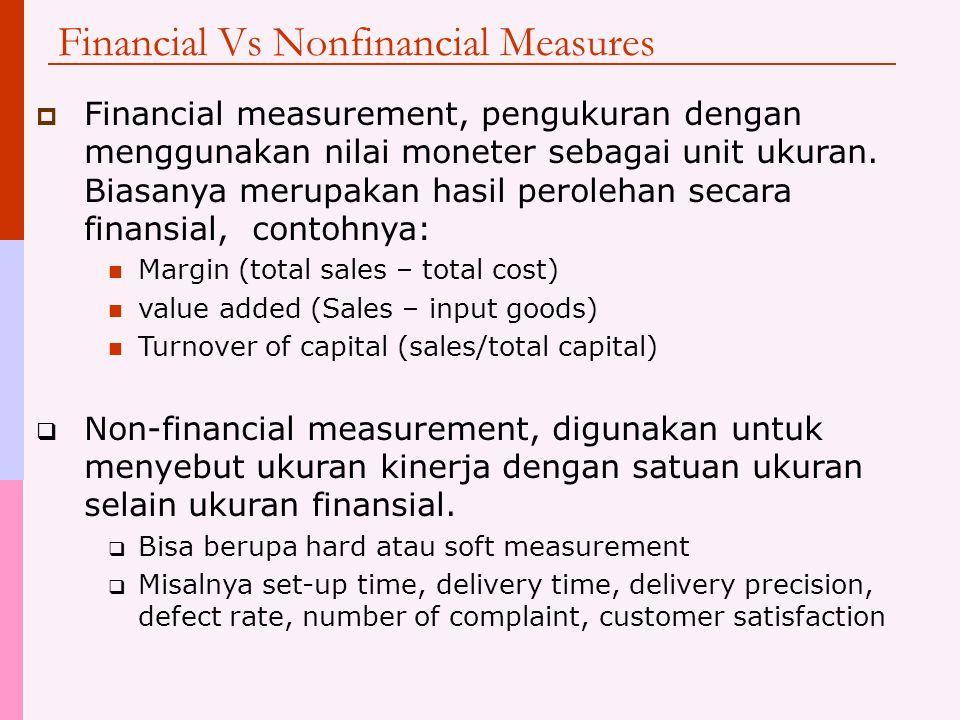 Financial Vs Nonfinancial Measures  Financial measurement, pengukuran dengan menggunakan nilai moneter sebagai unit ukuran. Biasanya merupakan hasil