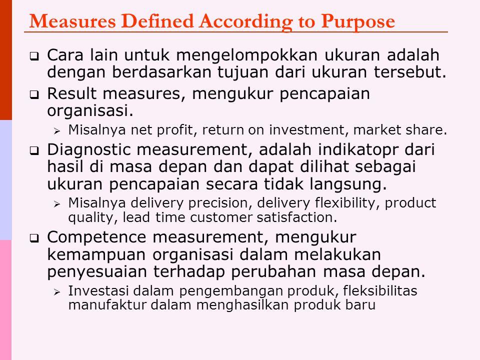 Measures Defined According to Purpose  Cara lain untuk mengelompokkan ukuran adalah dengan berdasarkan tujuan dari ukuran tersebut.  Result measures