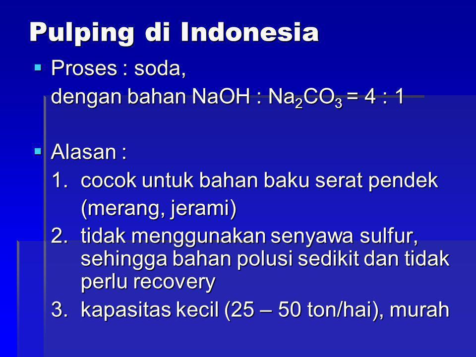 Pulping di Indonesia  Proses : soda, dengan bahan NaOH : Na 2 CO 3 = 4 : 1  Alasan : 1. cocok untuk bahan baku serat pendek (merang, jerami) 2. tida