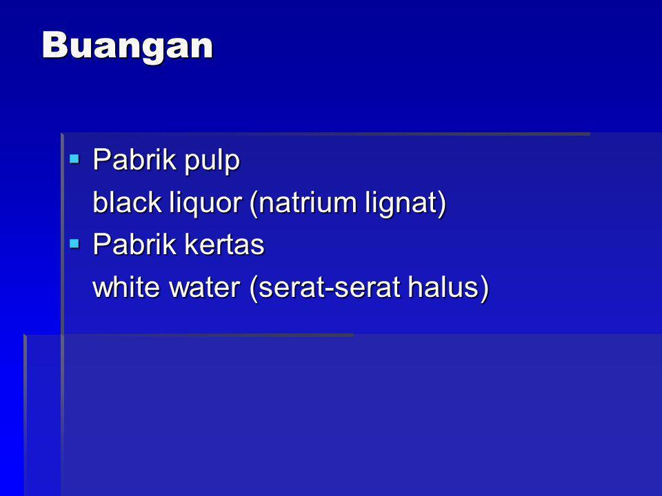 Buangan  Pabrik pulp black liquor (natrium lignat)  Pabrik kertas white water (serat-serat halus)