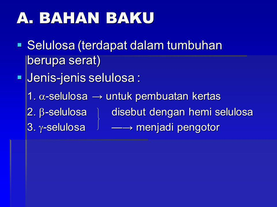 A. BAHAN BAKU  Selulosa (terdapat dalam tumbuhan berupa serat)  Jenis-jenis selulosa : 1.  -selulosa → untuk pembuatan kertas 2.  -selulosa disebu