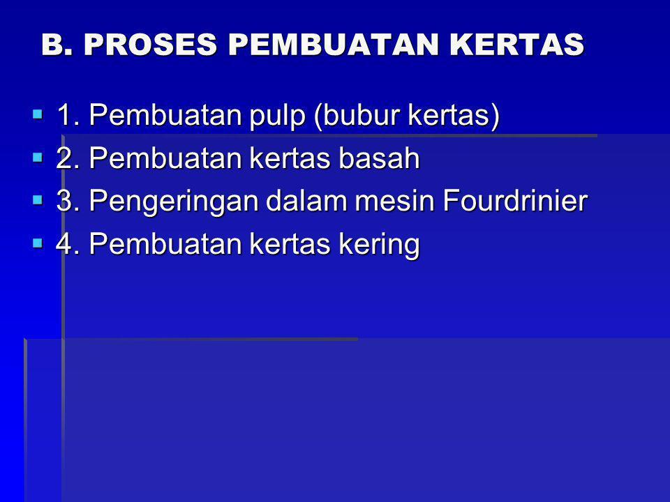 B.PROSES PEMBUATAN KERTAS  1. Pembuatan pulp (bubur kertas)  2.