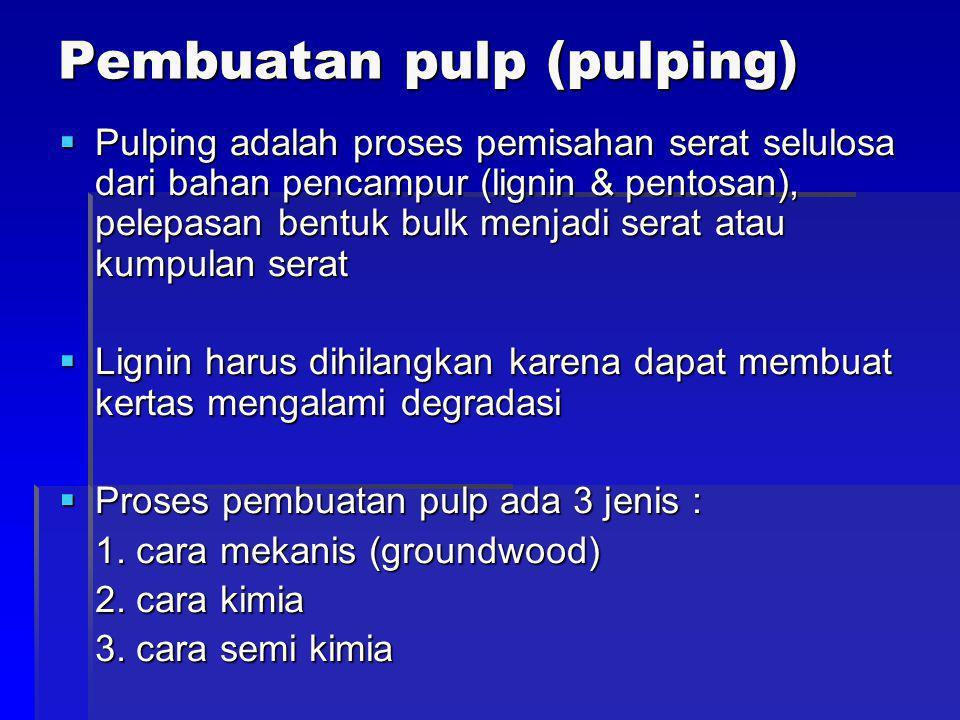 Pembuatan pulp (pulping)  Pulping adalah proses pemisahan serat selulosa dari bahan pencampur (lignin & pentosan), pelepasan bentuk bulk menjadi sera