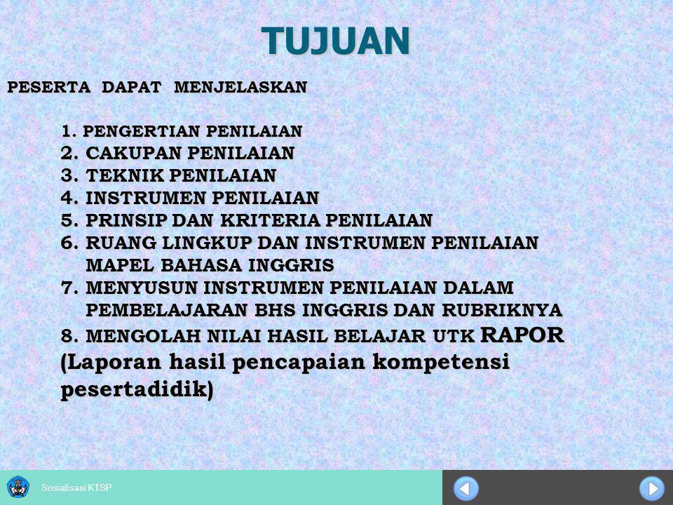 Sosialisasi KTSP Model Rapor SMP (1) Cakupan NoMapelPengetahuanKetrampilan Sikap Sosial dan Spiritual Dalam MapelAntarmapel Kelompok A 1Pendidikan Agama dan Budi Pekerti 2Pendidikan Pancasila dan Kewarganegaraan 3Bahasa Indonesia 4Matematika 5Ilmu Pengetahuan Alam 6Ilmu Pengetahuan Sosial 7Bahasa Inggris Kelompok B 1Seni Budaya 2Pendidikan Jasmani, Olah Raga, dan Kesehatan 3Prakarya Penilaian Proses dan Hasil Belajar