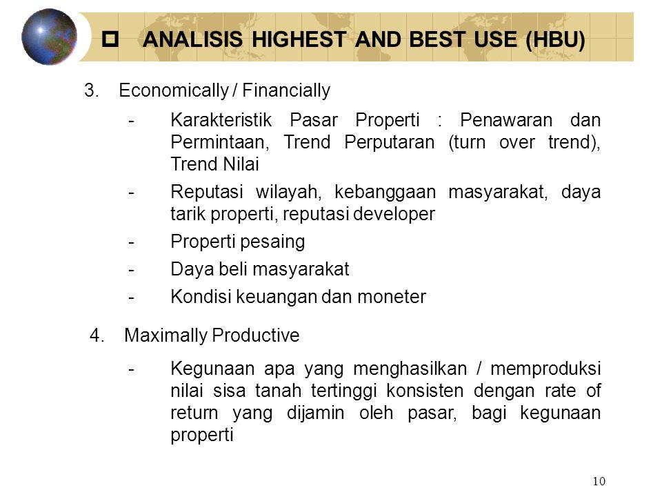 10 3.Economically / Financially -Karakteristik Pasar Properti : Penawaran dan Permintaan, Trend Perputaran (turn over trend), Trend Nilai -Reputasi wi