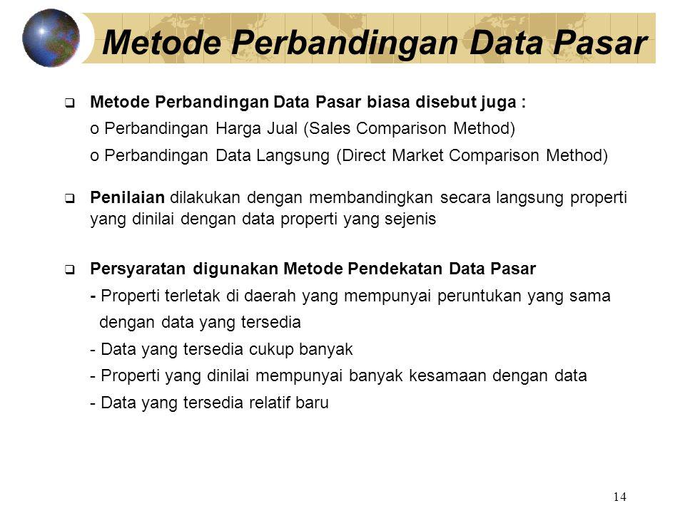 14 Metode Perbandingan Data Pasar  Metode Perbandingan Data Pasar biasa disebut juga : o Perbandingan Harga Jual (Sales Comparison Method) o Perbandi