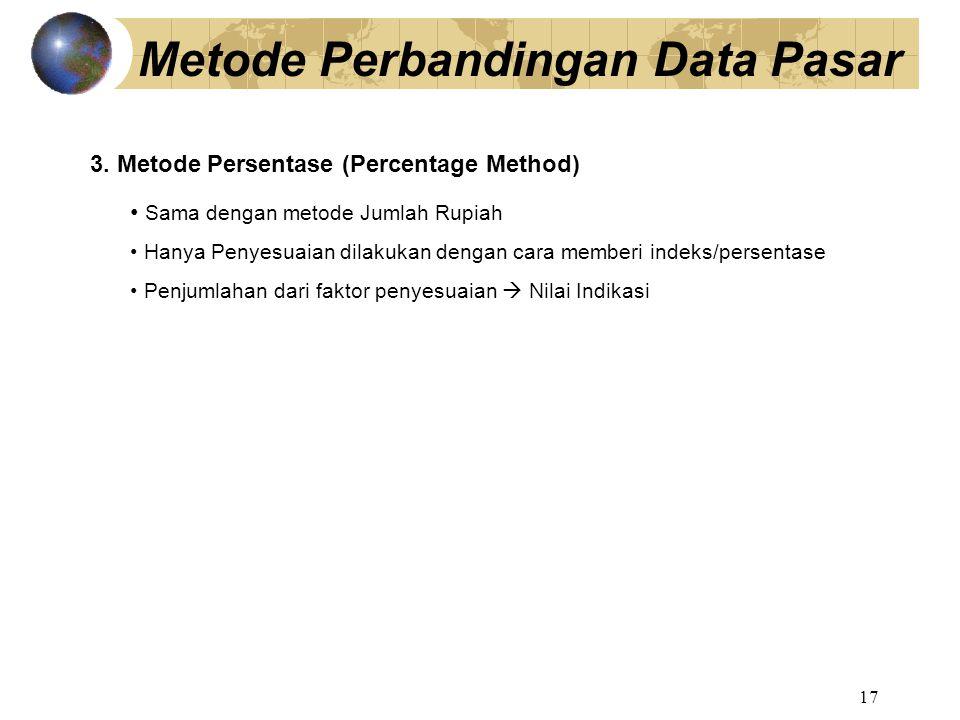 17 Metode Perbandingan Data Pasar 3. Metode Persentase (Percentage Method) Sama dengan metode Jumlah Rupiah Hanya Penyesuaian dilakukan dengan cara me