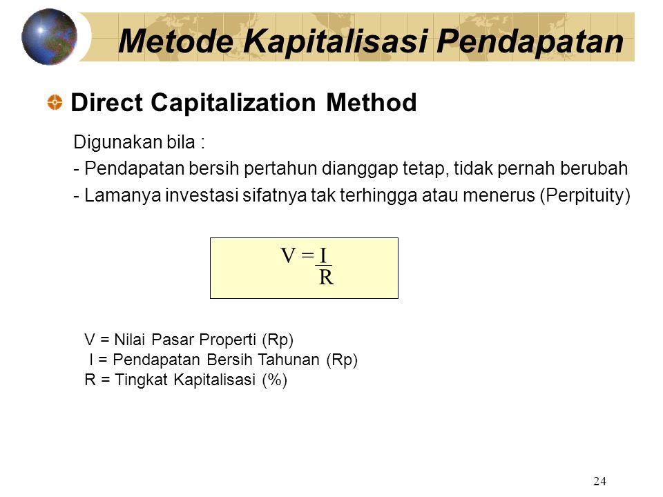 24 Digunakan bila : - Pendapatan bersih pertahun dianggap tetap, tidak pernah berubah - Lamanya investasi sifatnya tak terhingga atau menerus (Perpitu