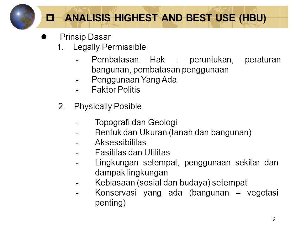9  ANALISIS HIGHEST AND BEST USE (HBU) lPrinsip Dasar 1. Legally Permissible -Pembatasan Hak : peruntukan, peraturan bangunan, pembatasan penggunaan