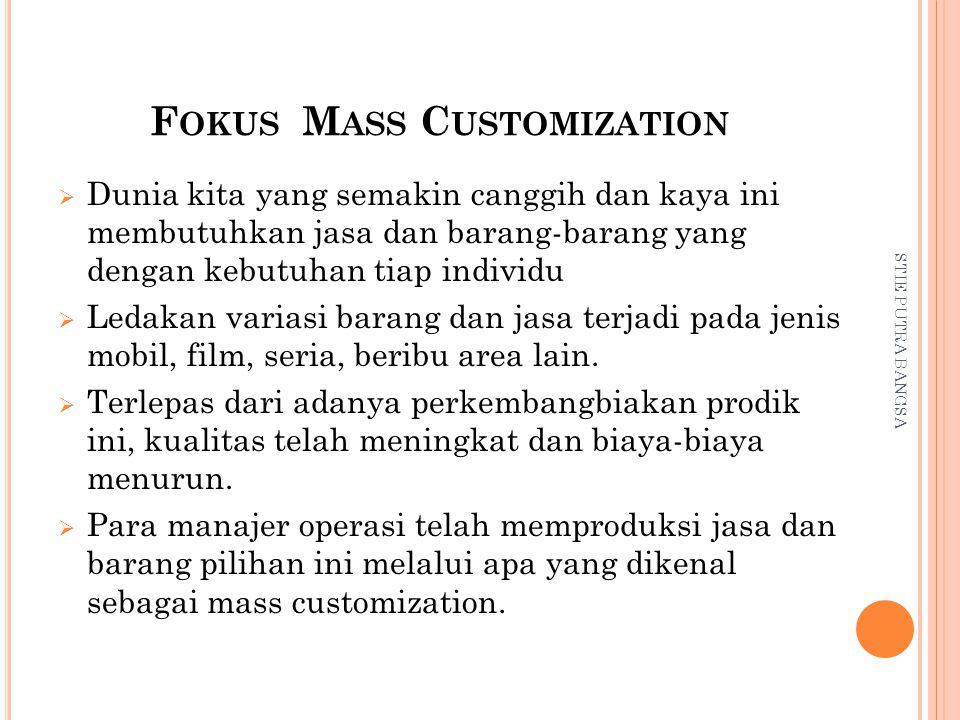  Tetapi mass customization bukan hanya tentang variasi produk, tetapi bagaimana secara ekonomis mengetahui dengan apa yang diinginkan pelanggan dan kapan pelanggan menginginkannya.