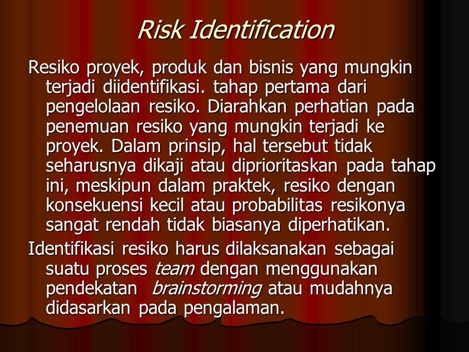 Risk Identification Resiko proyek, produk dan bisnis yang mungkin terjadi diidentifikasi. tahap pertama dari pengelolaan resiko. Diarahkan perhatian p