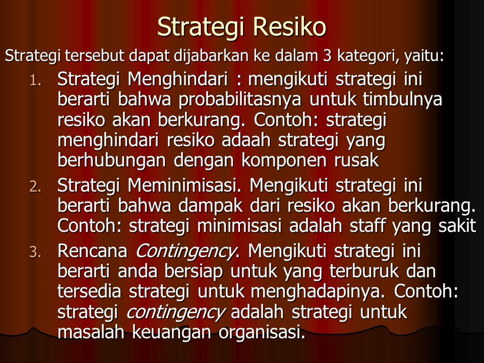 Strategi Resiko Strategi tersebut dapat dijabarkan ke dalam 3 kategori, yaitu: 1.